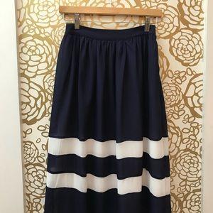 Anthro Sunday in Brooklyn Long Blue White Skirt
